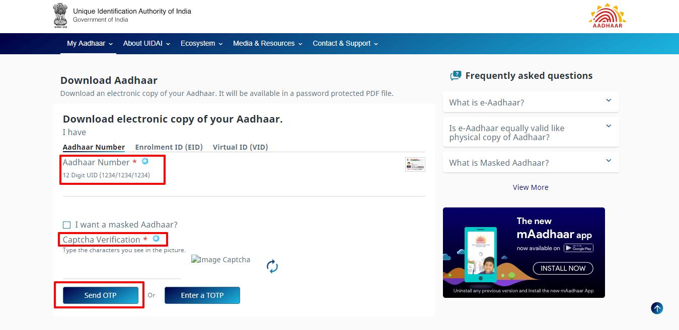 How to Get e Aadhaar Card PDF Password