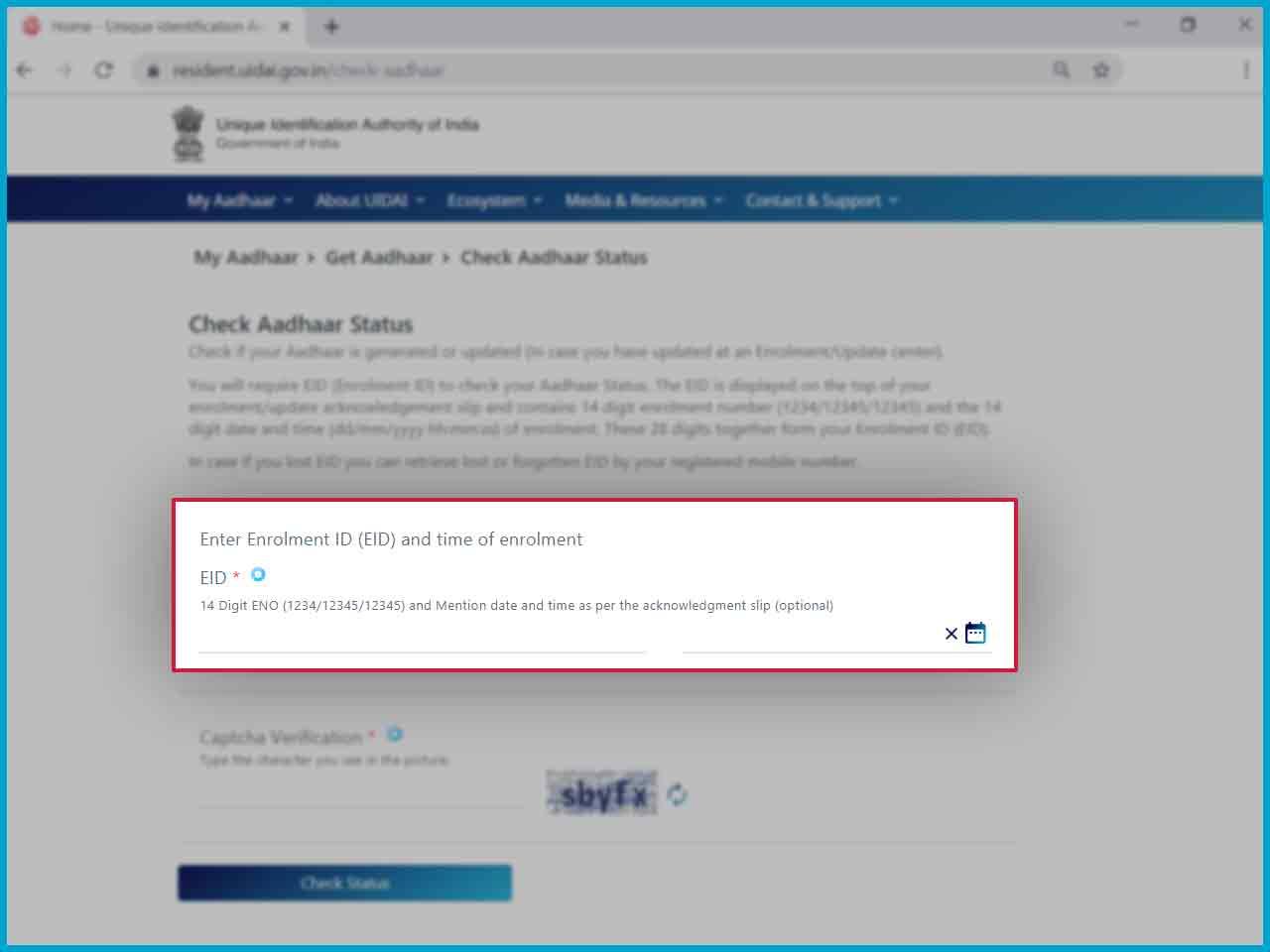 check aadhaar card status online  know your aadhaar status