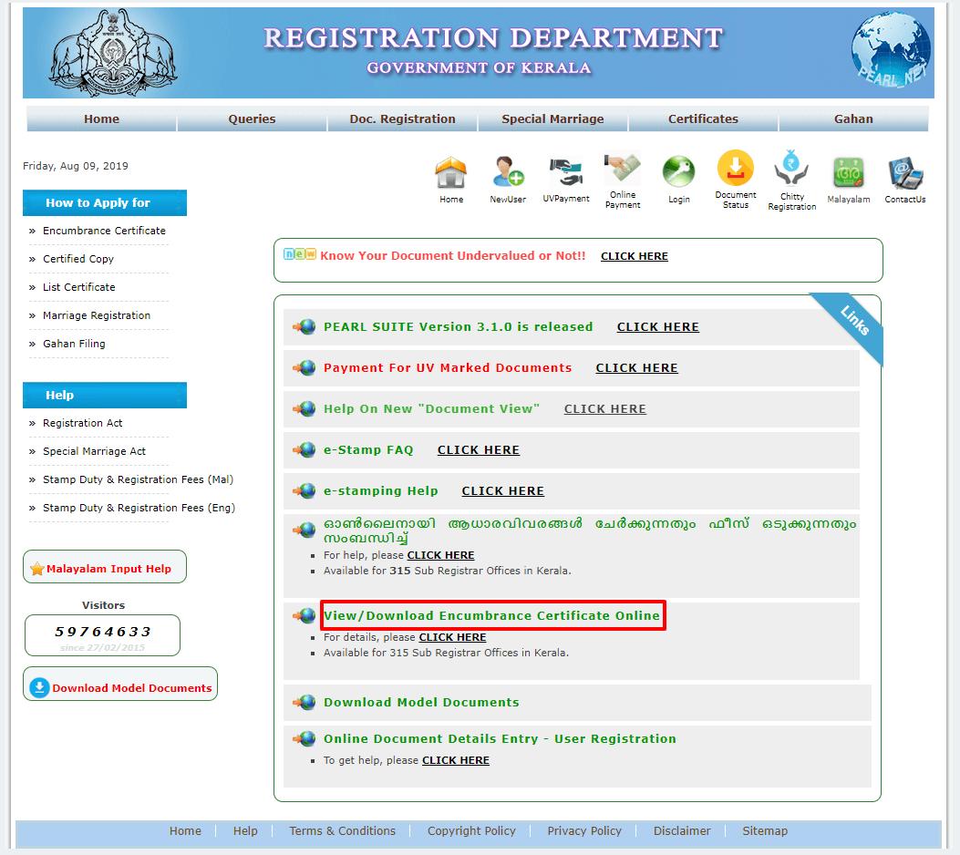 Encumbrance Certificate Kerala