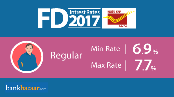 Minimum and Maximum Post Office fd interest rates 2017 for Regular and Senior Citizen