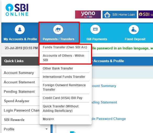 sbi net banking account transfer