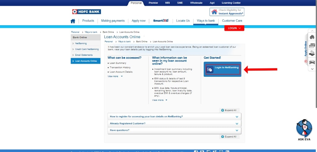 how to login into hdfc home loan account