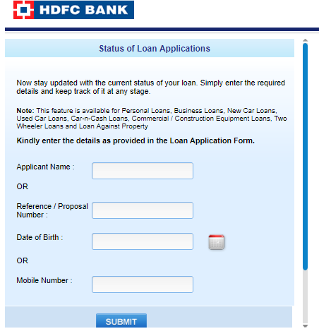 HDFC Personal Loan Status - Enquiry HDFC Application Status